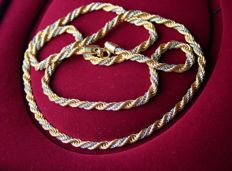 about 1960s Braided very long ca. 82cm. heavy yellow - white gold plated chain with good clasp. Excellent state.