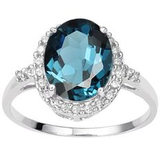 14k white  Gold  ring with London  Blue  Topaz  and diamonds 0.12 ct - Ring Size: US 7