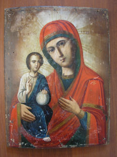 19 th century ortodox russian icon of virgin Mary of pravoruchnits hand painted