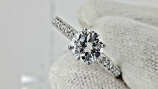 1.28 ct round diamond engagement  ring in 14 kt white gold *** NO RESERVE PRICE ***