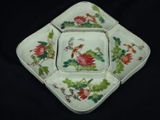 A set of 5 famille-rose tray-set with calligraphy on bottom - China - republic period (1912-1949)