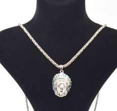 925 Italian sterling silver chain with  Red Indian   pendant   - 65  cm