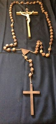Wooden Chaplet with 2 meters long and 1 crucifix - Ca1960