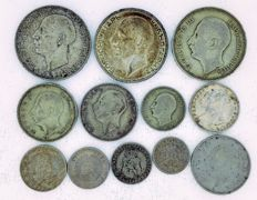 Bulgaria - 5 Stotinki up to and including 100 Leva 1888/1940 (12 coins) Including 7x silver