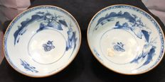 Nanking cargo batvian blue and white bowls - China - circa 1750