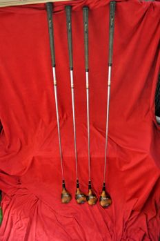 Collection of 4 vintage wooden golf clubs,  Jack Nicklaus, leather handles Mac Gregor