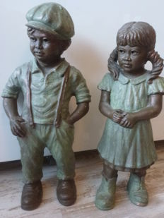 Artist Geert Kunen - ceramic/pottery sculptures boy and girl - signed.