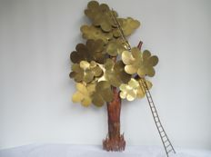 Daniel D'Haeseleer - signed large design tree with ladder, 75 cm.