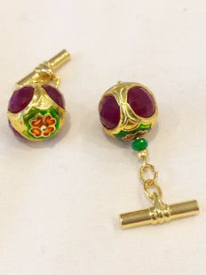 Vintage gilded silver Ruby  and cloisonné  men's cuff links, from ca. 1960, No Reserve