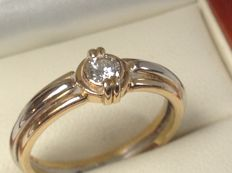 Gold, 18 kt Bi-colour LeChic women's ring with a brilliant cut diamond of 0.20 ct. TW/VVS - size 18 1/4 (57)