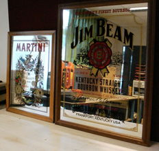 Two advertising mirrors with wooden frame Jim Bean and Martini, 21st century