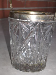 Ice bucket from 1960s and 2 silver plated candle holders