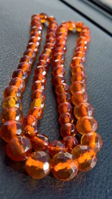 100% Baltic natural Amber antique  facets beads neckalce, 37 grams, ca. 19th century