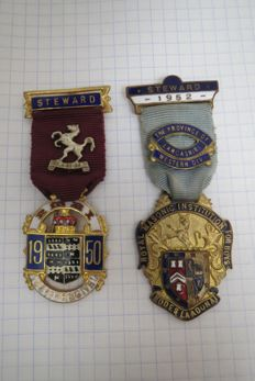 "Two Medals of the  Royal Masonic Benevolent Institution ""STEWARD"" for boys 1950 and 1952"