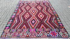 Handwoven Turkish Kilim Rug Wool Rug 6.79 x 10.20 ft ( 207 x 311 cm) Turkish Fethiye Kilim
