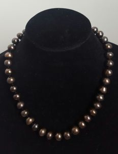 Silver 925 - Necklace with fresh water cultured pearls in coffee colour - Length: 50 cm