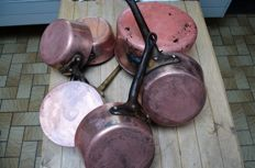 Lot of 6 copper sauce pans