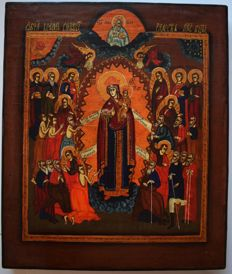 Russian orthodox iсon,  Joy of All Who Sorrow , hand painted, tempera, wood.