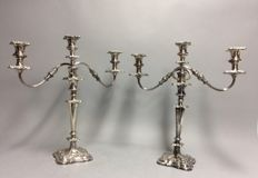 Two majestic, high, silver plated candle stands for three candles, ca 1860
