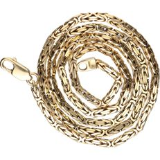 14 kt. Yellow gold king's braid link necklace - length x width: 44 x 0.2 cm