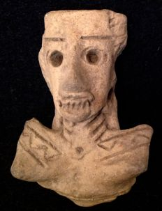 Pre-Columbian pottery head of a person with hollow eyes and skeletal features - Mexico - 7 cm