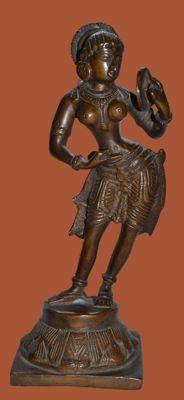 Sculpture of a dancing goddess with a mirror - India - second half of 20th century