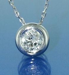 14 kt White gold solitaire pendant with 1 brilliant cut diamond of 0.26 ct, L 42 cm *** No reserve price ***