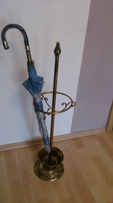 Old brass umbrella stand, antique art nouveau - very large