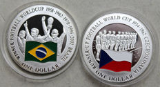 Cook Islands – 1 Dollar 2001 'Set Soccer WM Brazil and Czechoslovakia' in colour (2 coins):- silver