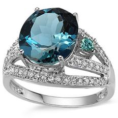 14K White  Gold Ring With 5.3 Grams -  London  Blue  Topaz and 0.21 ct Diamonds - US Size 7.5