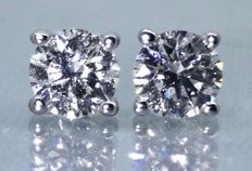 Solitaire ear studs set with 2 brilliant cut diamonds, 0.50 ct in total,  **No reserve price****