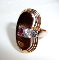 Antique ring made of 14kt / 585 rose gold with diamond of 0.17 ct + ruby 0.17 ct. Ring size 52 / 16.9mm - adjustable