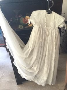 Brocante lace christening gown, France, mid 20th century