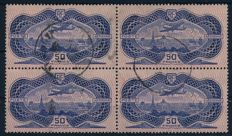 "France 1936 - 50 Fr. ""aeroplane above Paris on bank note paper"" in block of 4 - Michel 321 (4)"