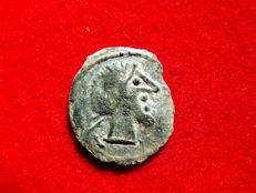 Roman Republic - Anonymous semis imitative issue minted in Hispania 209 - 200 BC. Saturn head / prow of galley ROMA.