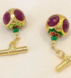 Vintage gilded silver Ruby, cloisonné  men's cuff links ca. 1960, No Reserve
