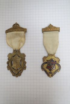 "Two Medals of the  Royal Masonic Benevolent Institution ""STEWARD"" for Girls 1945"