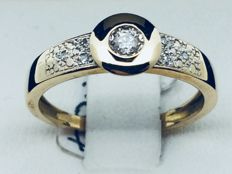 750 yellow GOLD ring, diamonds, size 54