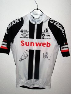 Cycling race shirt Tom Veelers 2017, signed by Tom Dumoulin & Laurens ten Dam