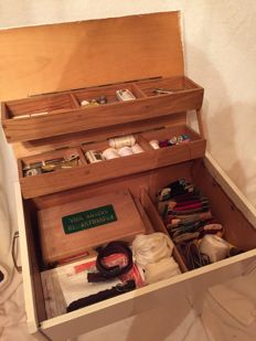Gorgeous vintage sewing box sewing supplies