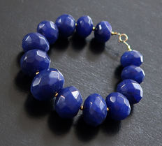 Bracelet of large faceted sapphires with 14 kt Gold clasp - 21.1 cm -340 ct