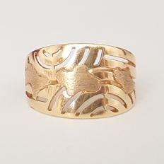 Openwork smooth and textured 18 kt yellow gold ring - Size: 18.8 mm 19/59 EU