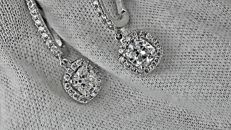 2.75 ct cushion diamond earrings 14 kt white gold