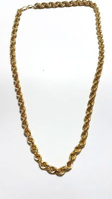 Solomonic style cord chain in 18 kt gold - length:  Length: 60 cm