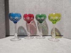 Saint Louis, Massenet / 4 signed wine glasses / cut Roemer crystal  / lined with 4 colours