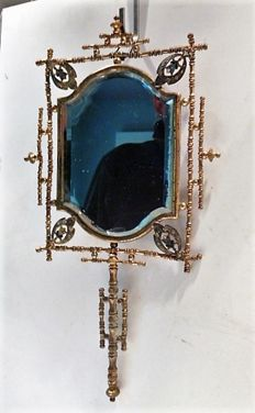 Gilt bronze, enamelled bevelled cut hand-mirror, France, late 19th century
