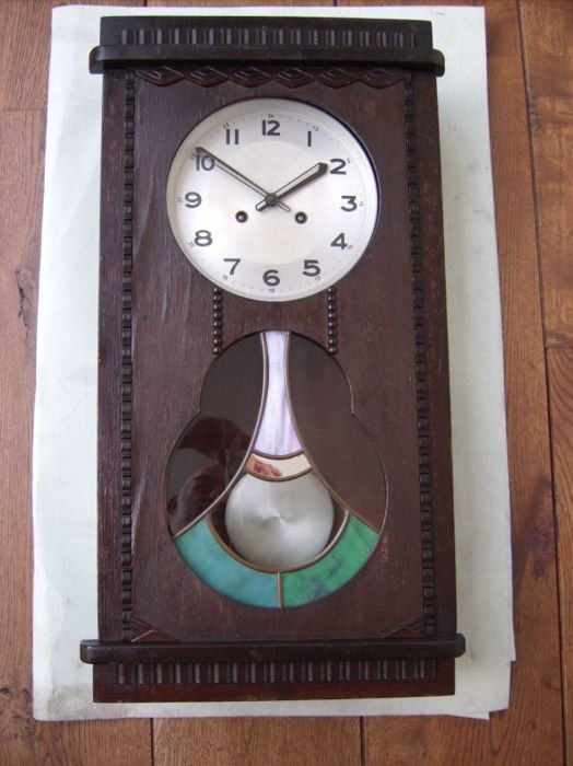 Art Deco Wall Clock By Urgos Approx. 1930