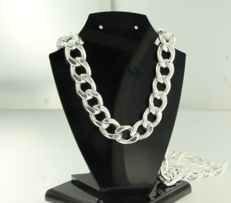 925 Silver curb link necklace - 70 cm long