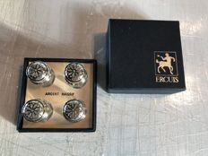 """Set of 4 salt shakers, sterling silver and crystal of the brand """"ERCUIS"""" France"""