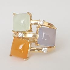 18 kt yellow gold ring with jade, chalcedony, carnelian and diamonds - size 17.8 mm, 16/56 (EU)